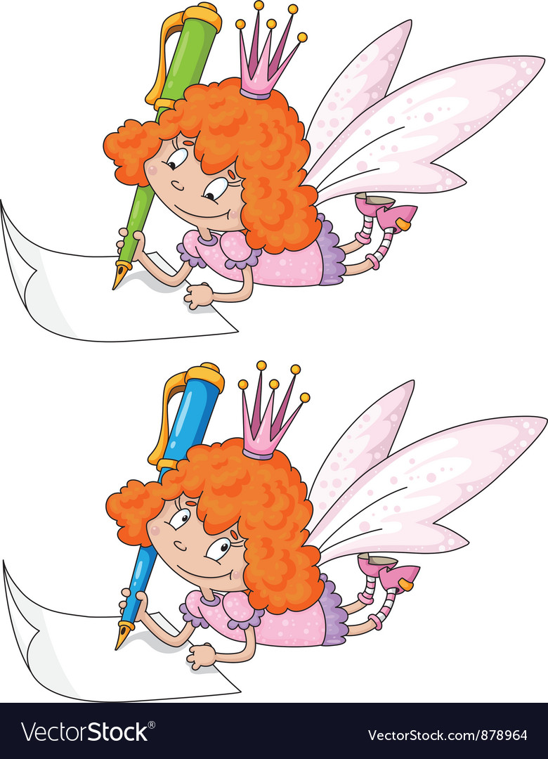 Fairy and pen vector | Price: 3 Credit (USD $3)
