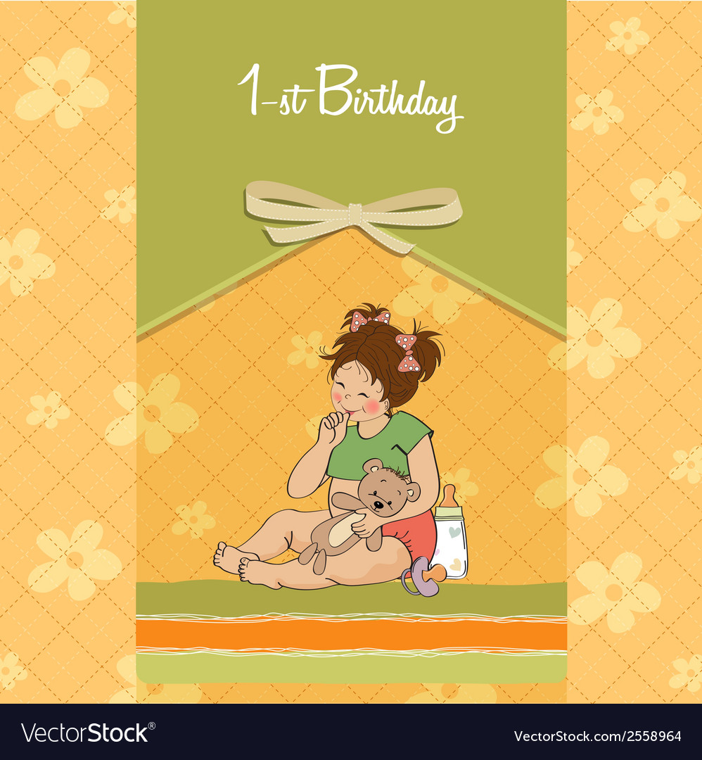 Little girl with at her first birthday vector | Price: 1 Credit (USD $1)