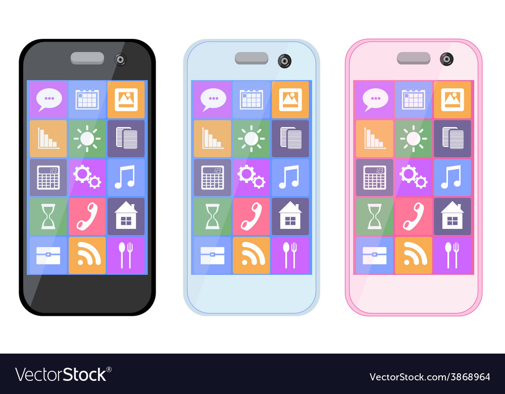 Mobile phone smartphone collection on white vector | Price: 1 Credit (USD $1)