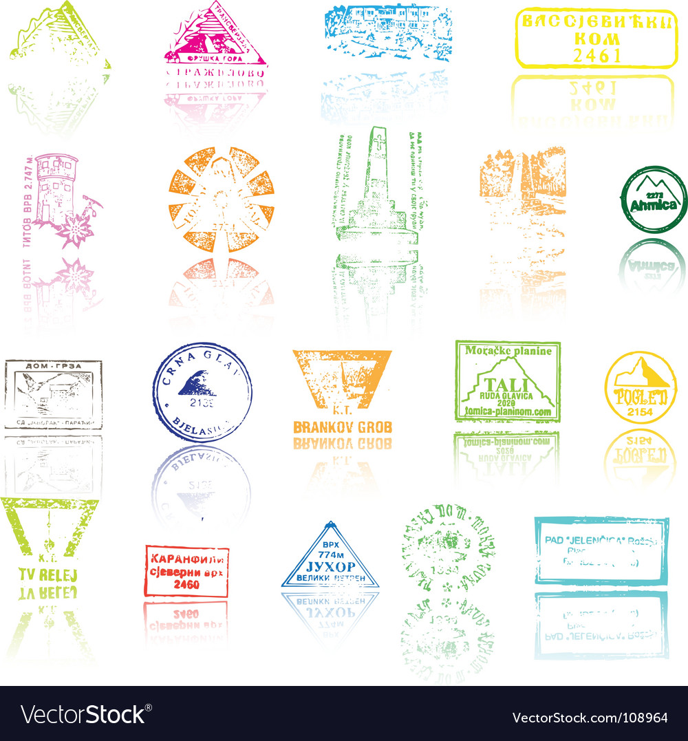 Mountaineers peaks stamps vector | Price: 1 Credit (USD $1)