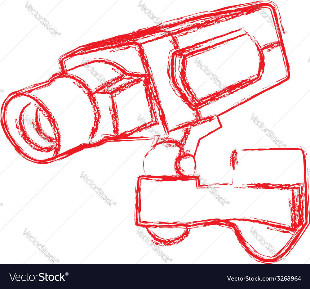 Red and white surveillance camera cctv vector | Price: 1 Credit (USD $1)