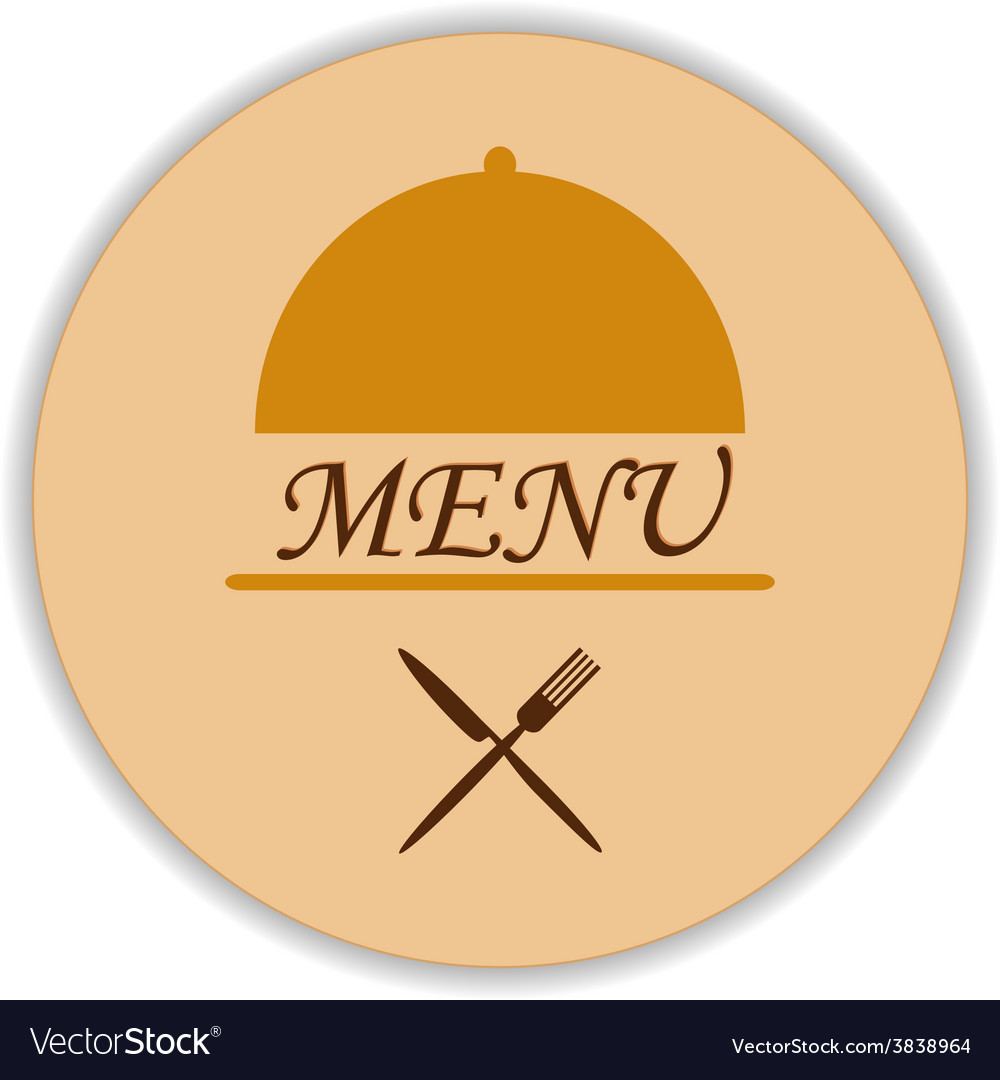 Restaurant label with cloche and flatware vector | Price: 1 Credit (USD $1)