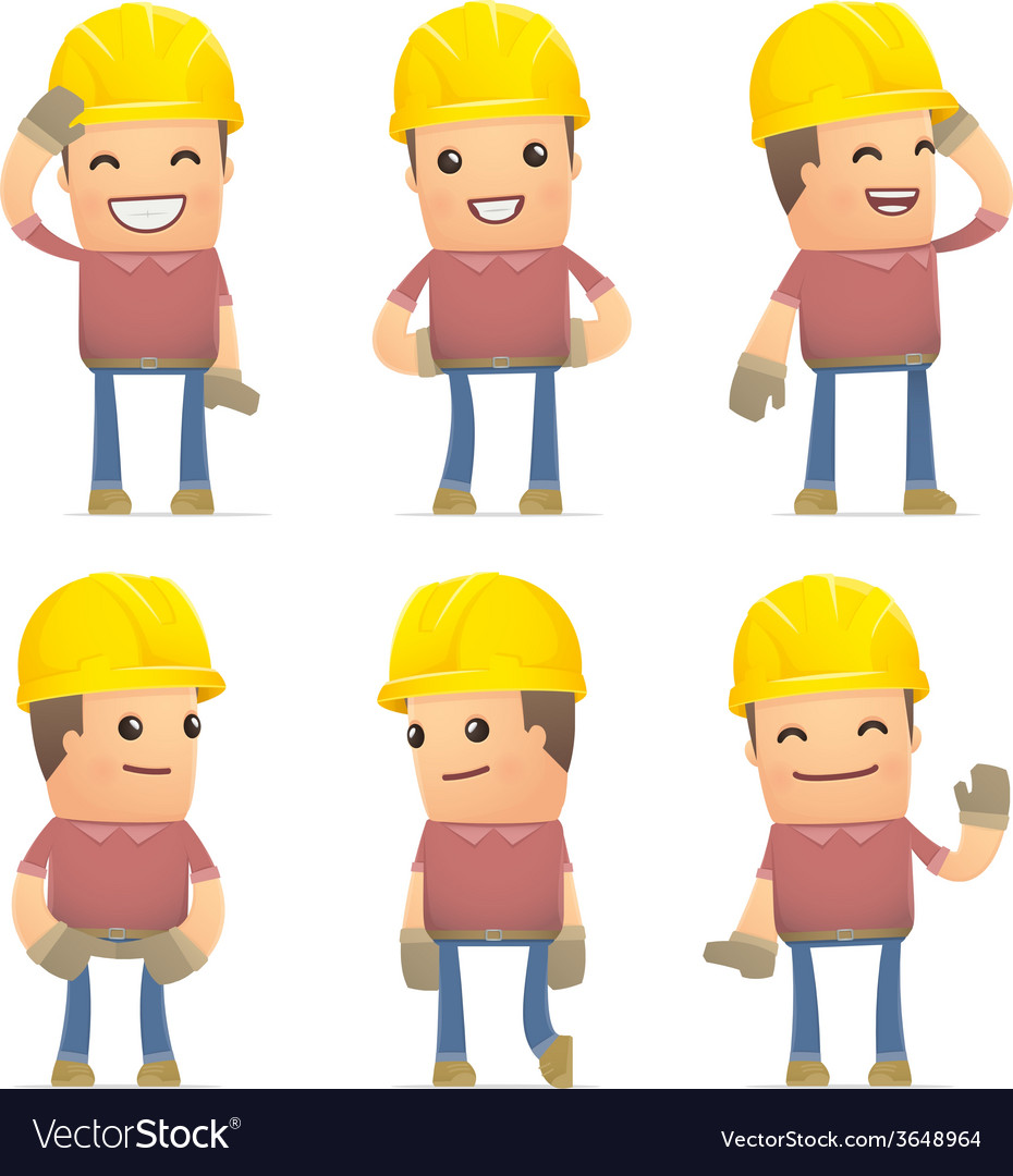 Set of builder character in different poses vector | Price: 3 Credit (USD $3)