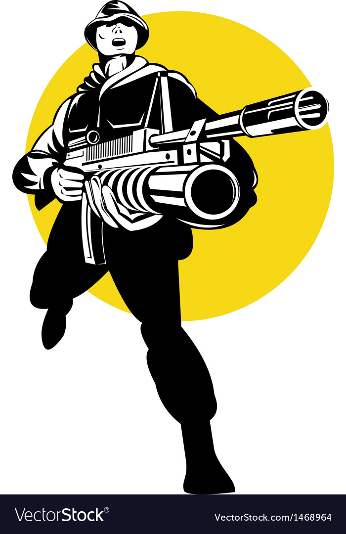 Soldier serviceman with grenade launcher vector | Price: 1 Credit (USD $1)