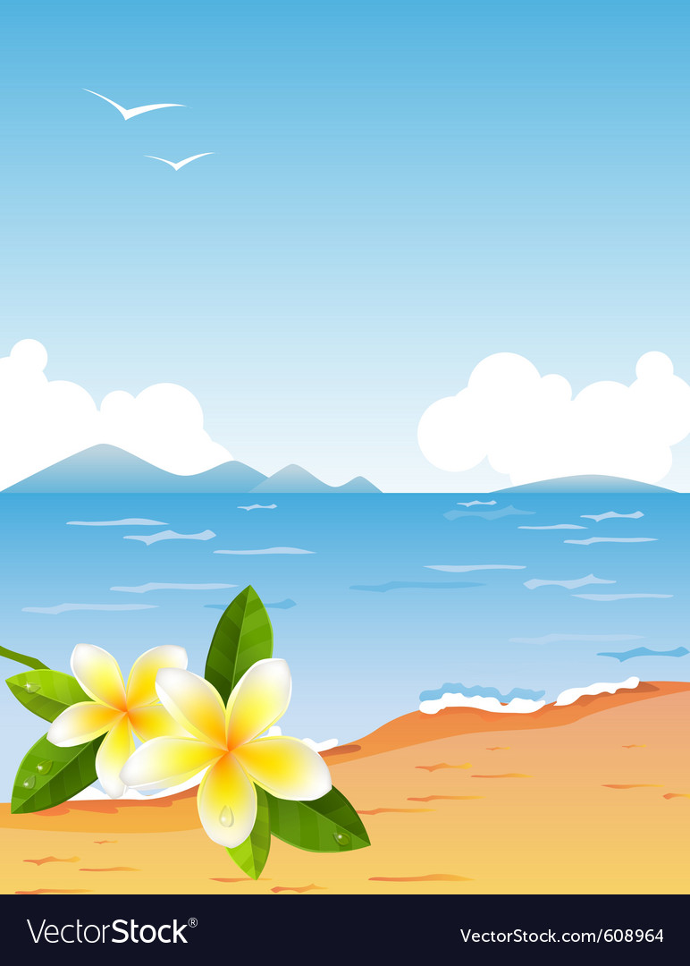 Tropic beach with frangiapani vector | Price: 1 Credit (USD $1)