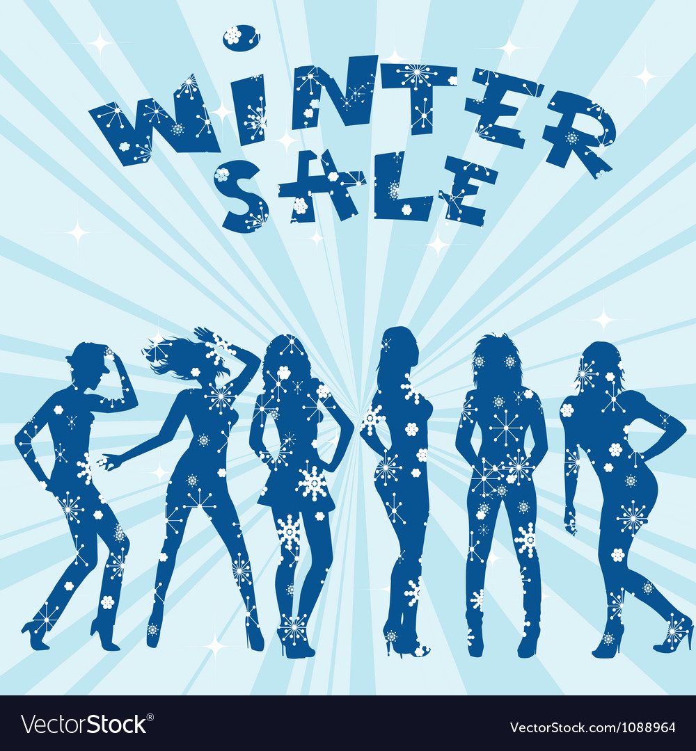 Winter sale advertising with women silhouettes vector   Price: 1 Credit (USD $1)
