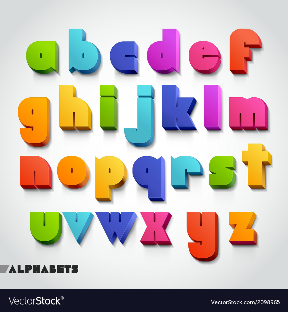 3d alphabet color font vector | Price: 1 Credit (USD $1)