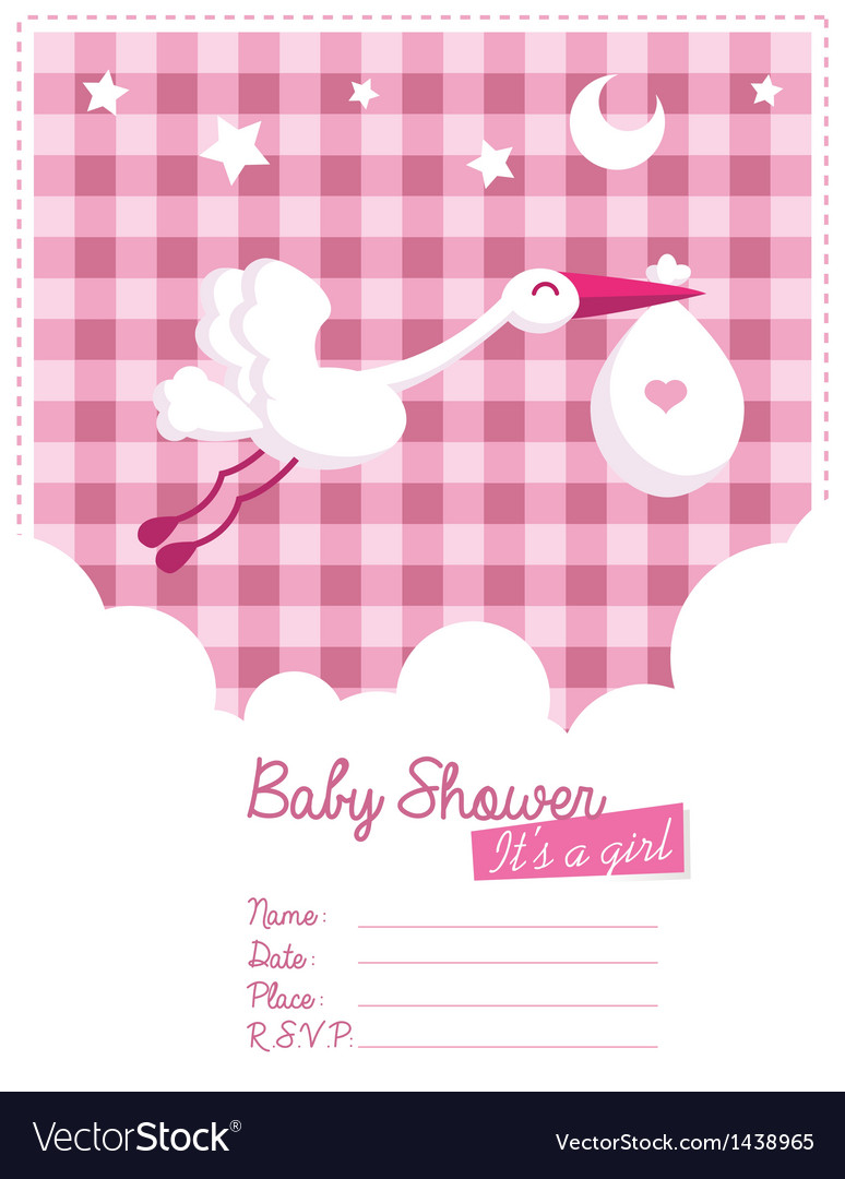 Baby girl invitation with stork vector | Price: 1 Credit (USD $1)