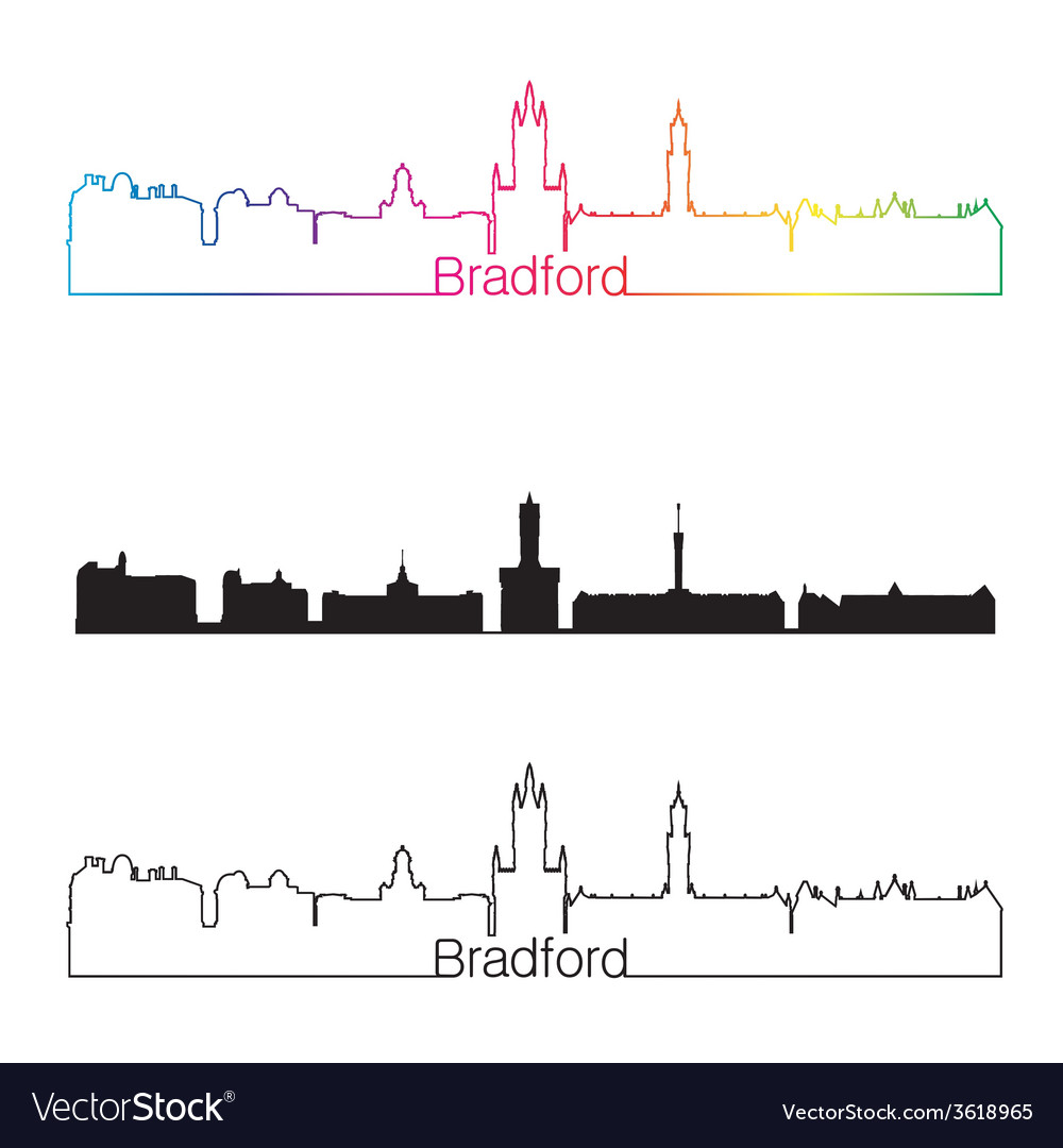 Bradford skyline linear style with rainbow vector | Price: 1 Credit (USD $1)