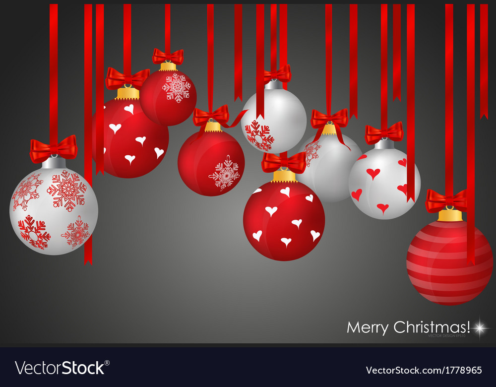 Christmas balls with ribbon and bow vector | Price: 1 Credit (USD $1)