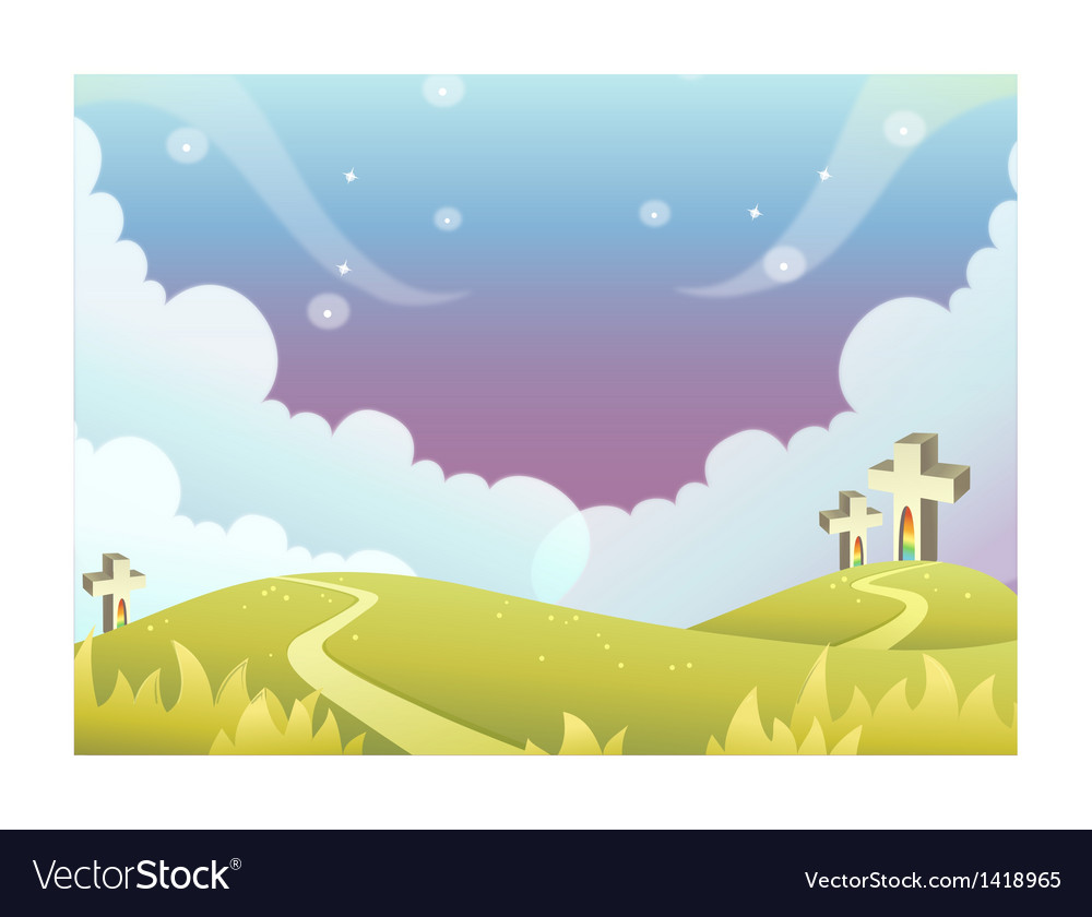 Cross on rolling landscape vector | Price: 1 Credit (USD $1)