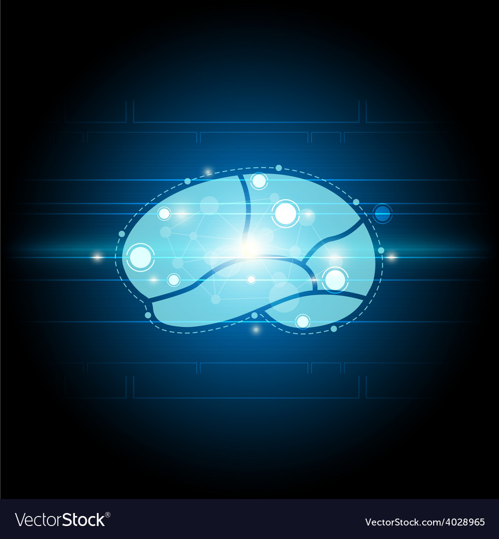 Digital brain technology background vector | Price: 1 Credit (USD $1)