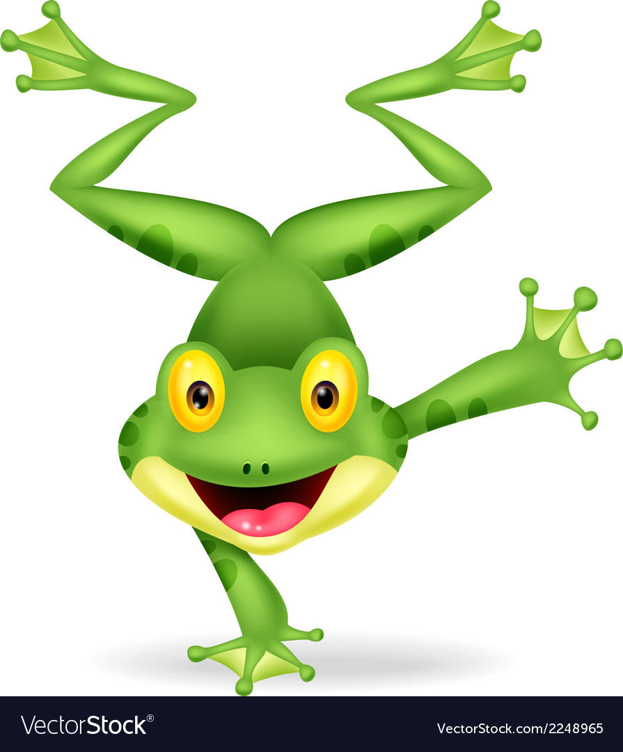 Funny frog cartoon standing on its hand vector | Price: 1 Credit (USD $1)