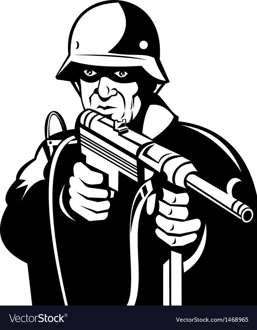 German world war two soldier pointing a gun vector | Price: 1 Credit (USD $1)