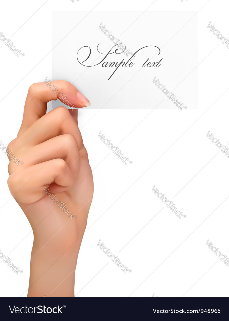 Hand holding paper card vector | Price: 3 Credit (USD $3)
