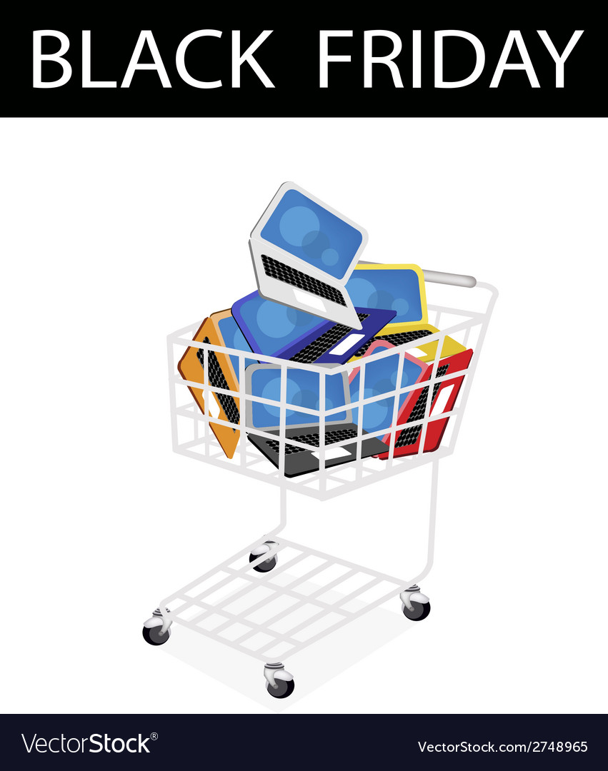 Laptop computer in black friday shopping cart vector | Price: 1 Credit (USD $1)