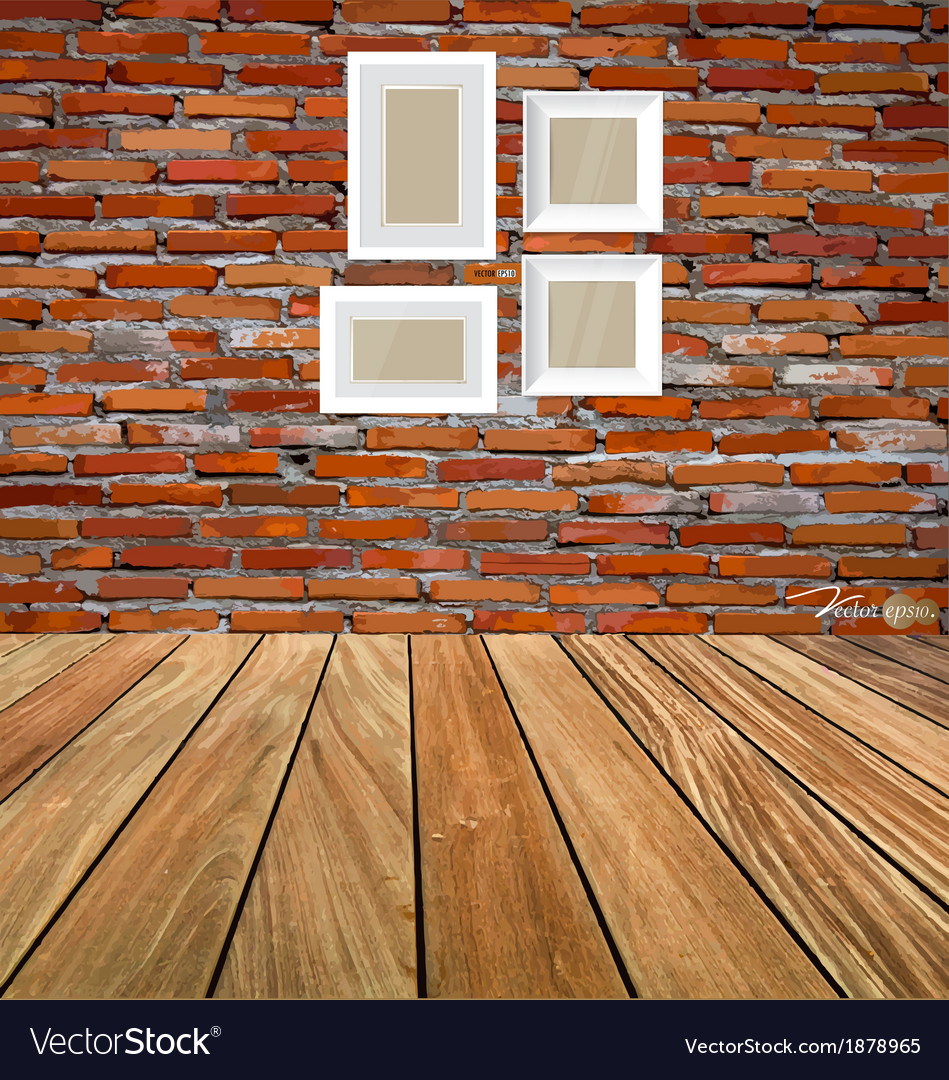 Room interior vintage with red brick wall and wood vector | Price: 1 Credit (USD $1)