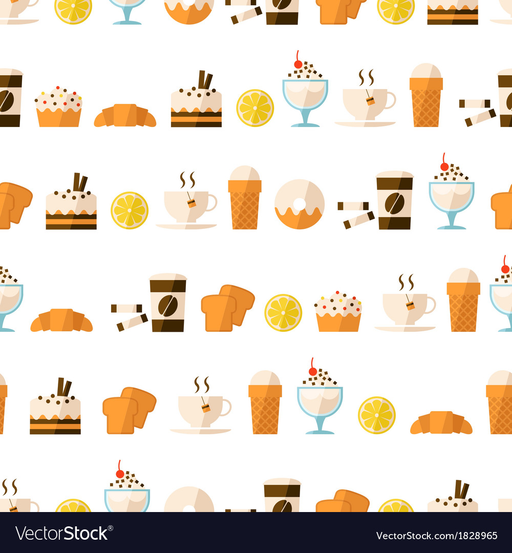 Seamless pattern with dessert and drinks vector | Price: 1 Credit (USD $1)