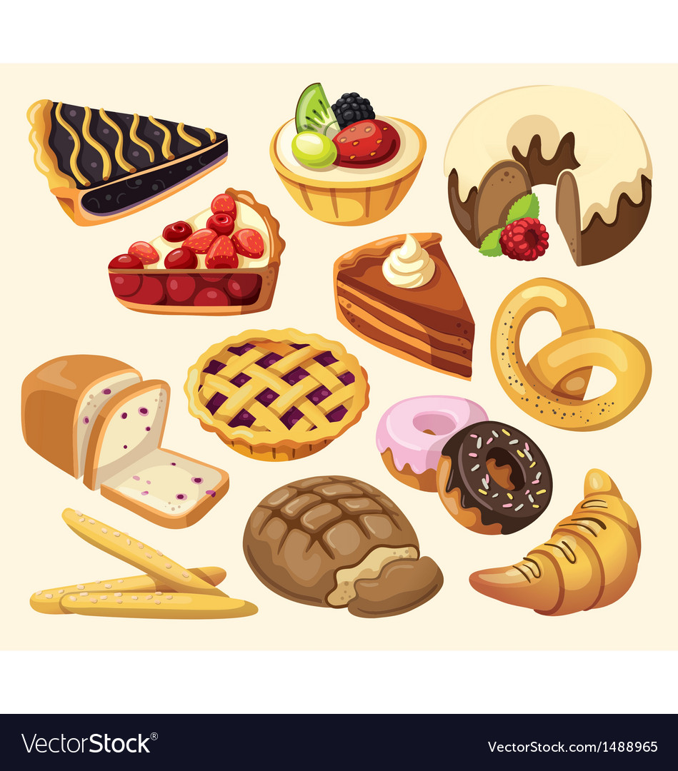Set of pies and flour products vector | Price: 3 Credit (USD $3)