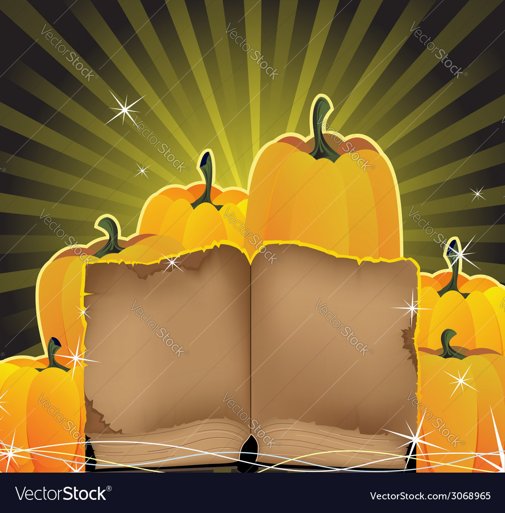 Sparkling pumpkins and the old book vector | Price: 1 Credit (USD $1)