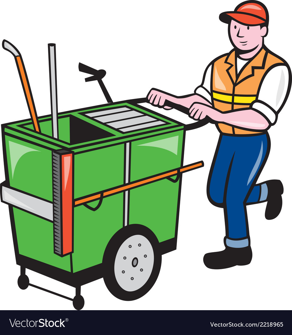 Streeet cleaner pushing trolley cartoon isolated vector | Price: 1 Credit (USD $1)