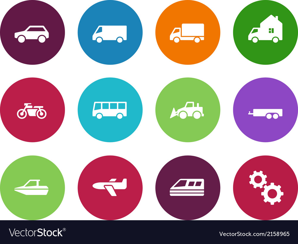 Transport circle icons on white background vector | Price: 1 Credit (USD $1)
