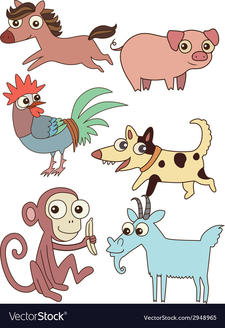 The twelve chinese zodiac cutie cartoon vector | Price: 1 Credit (USD $1)