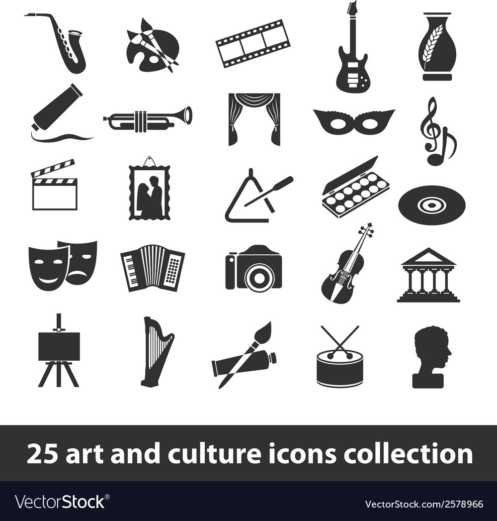 25 art and culture icon collection vector | Price: 1 Credit (USD $1)