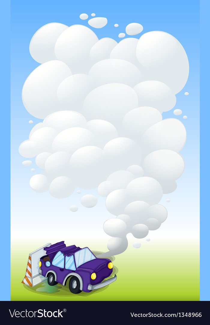 A violet car with smoke vector | Price: 1 Credit (USD $1)