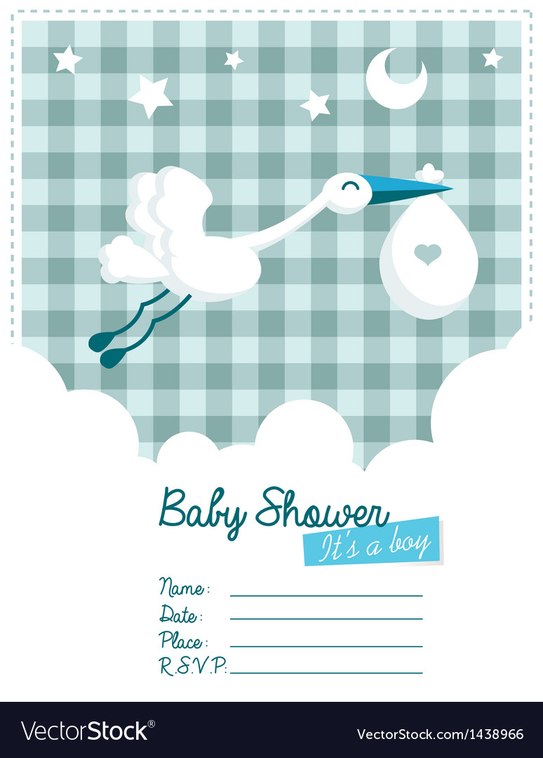 Baby boy invitation with stork vector | Price: 1 Credit (USD $1)
