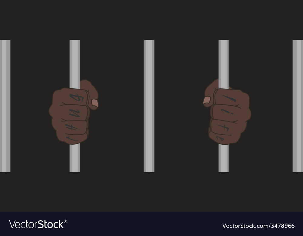 Black man hands with tattoo holding prison bars vector | Price: 1 Credit (USD $1)