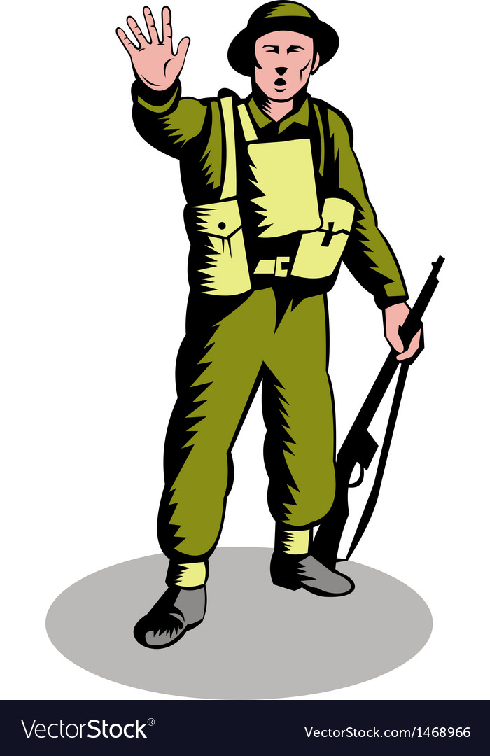 British soldier serviceman with rifle vector | Price: 1 Credit (USD $1)