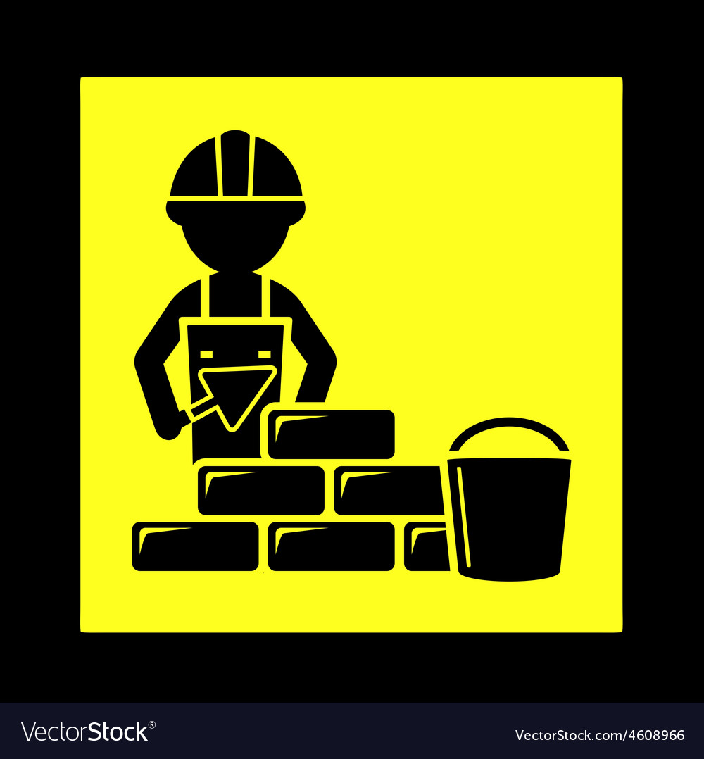 Builder with brick wall icon vector | Price: 1 Credit (USD $1)