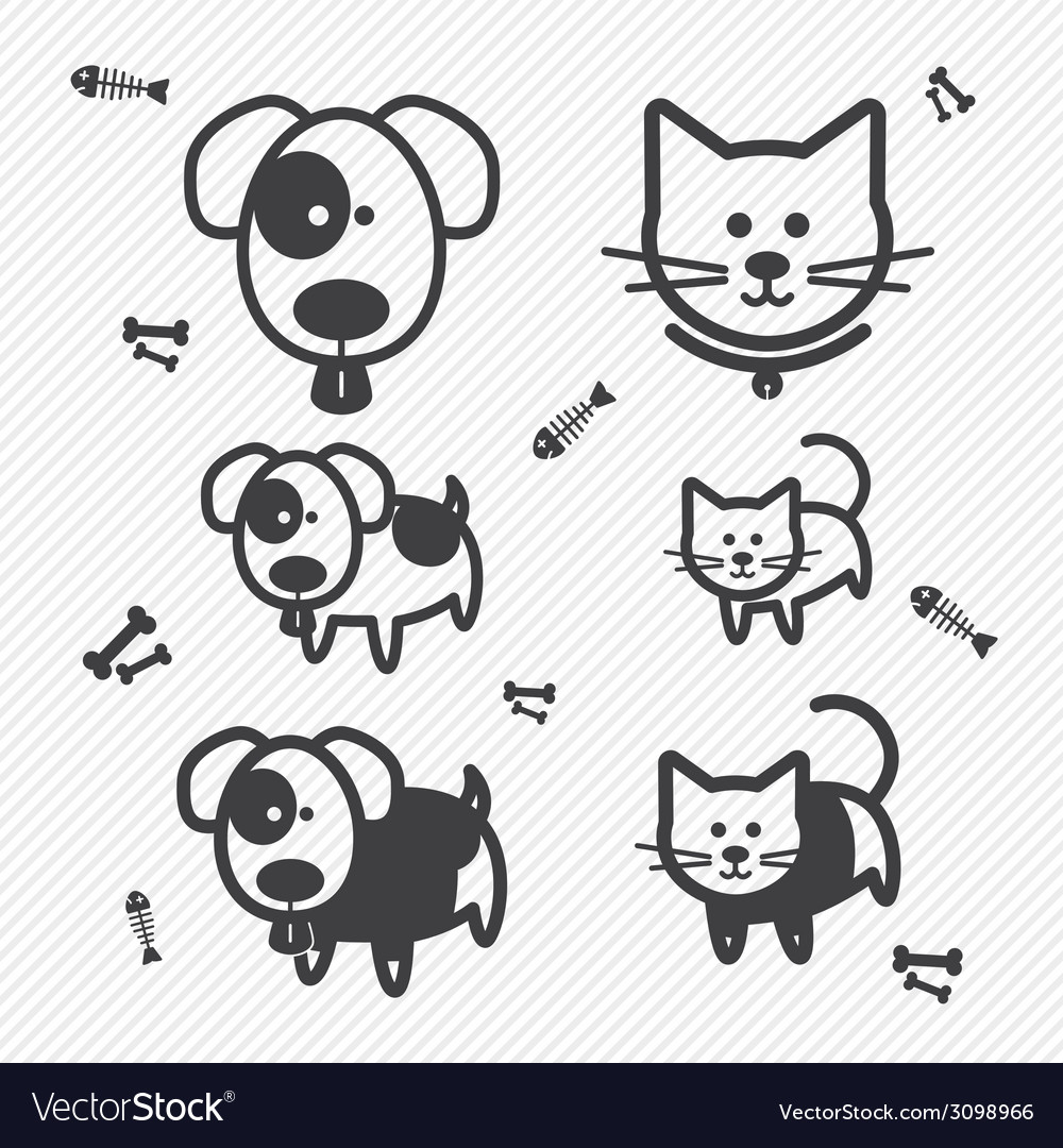 Cat and dog icons vector | Price: 1 Credit (USD $1)