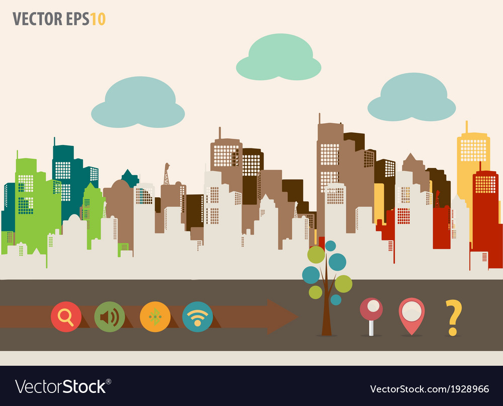 Colorful buildings design vector | Price: 1 Credit (USD $1)