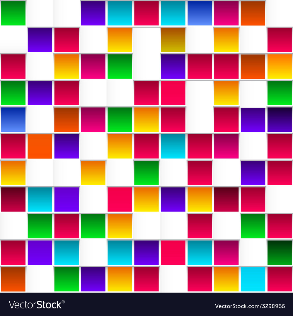 Colorful childish rainbow colored squares seamless vector | Price: 1 Credit (USD $1)