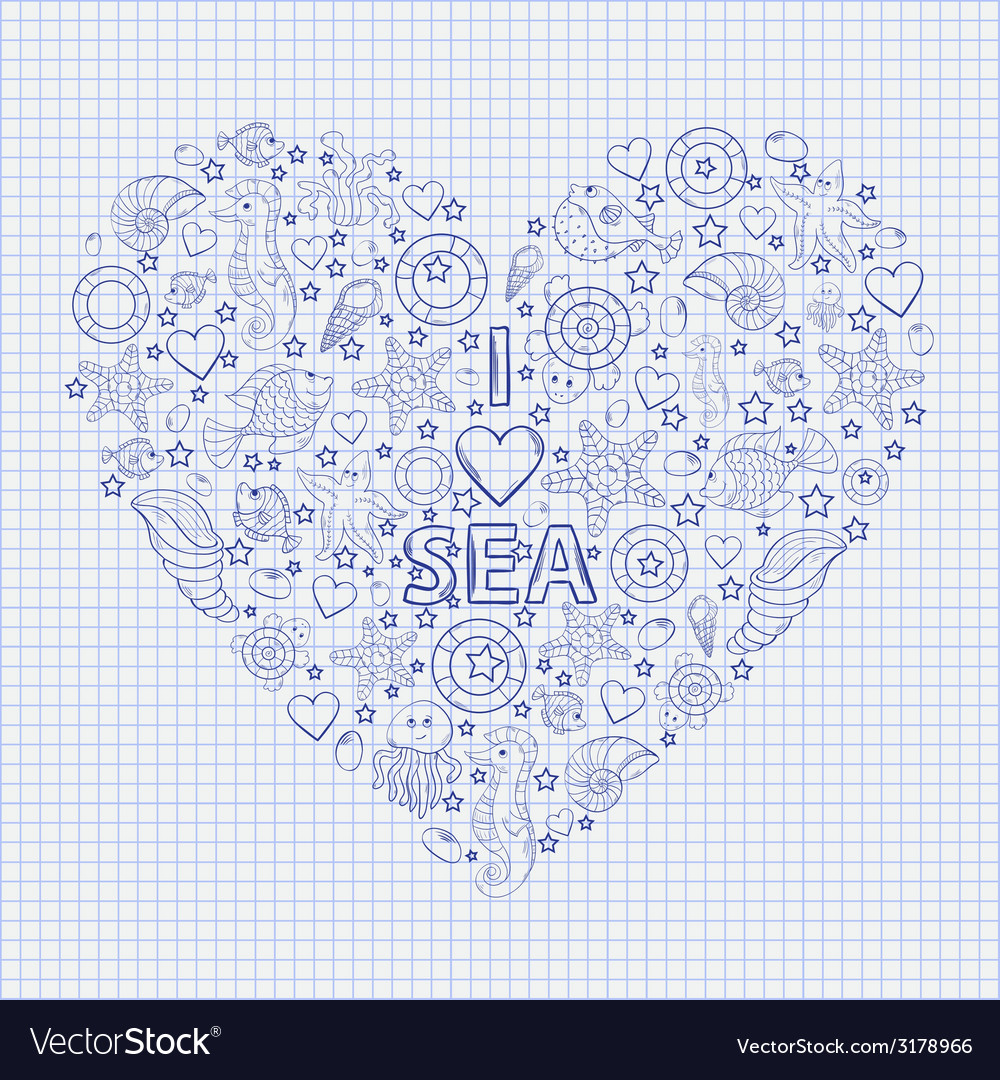 I love the sea heart vector | Price: 1 Credit (USD $1)