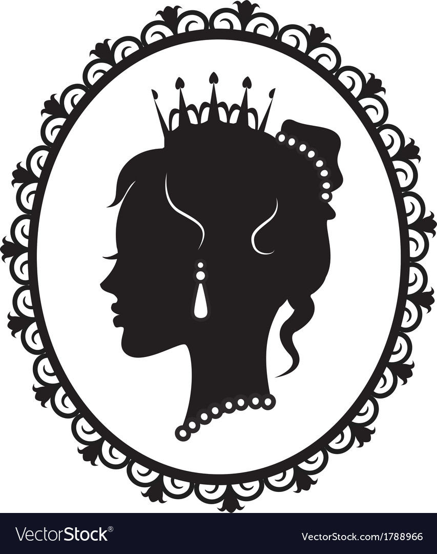 Princess silhouette in the frame vector | Price: 1 Credit (USD $1)