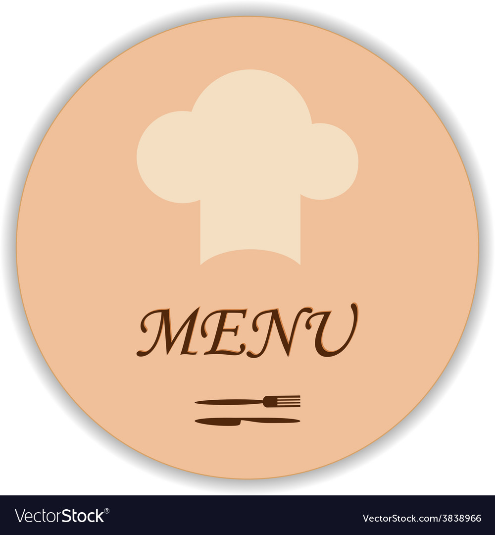 Restaurant label with chef hat and flatware vector | Price: 1 Credit (USD $1)