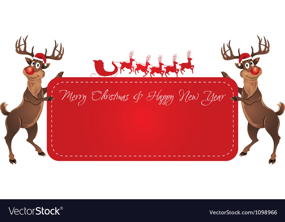 Rudolph reindeer christmas banner vector | Price: 1 Credit (USD $1)