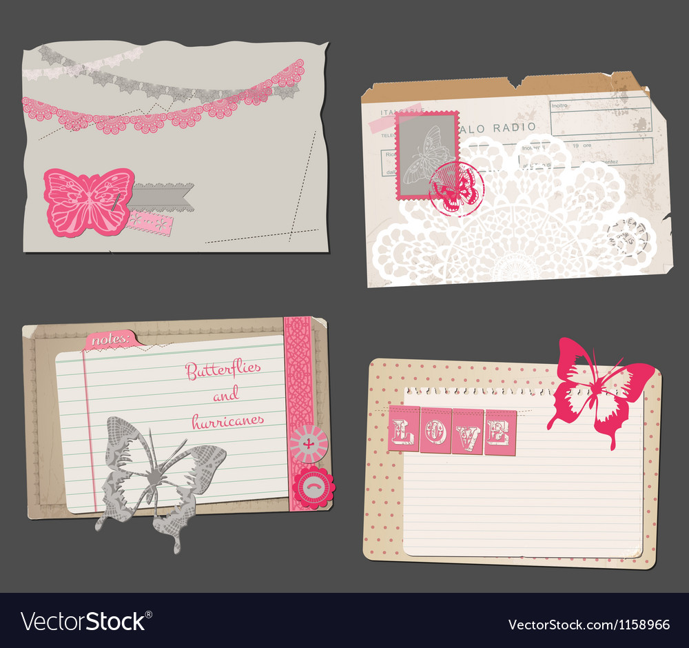 Set of vintage papers vector | Price: 1 Credit (USD $1)