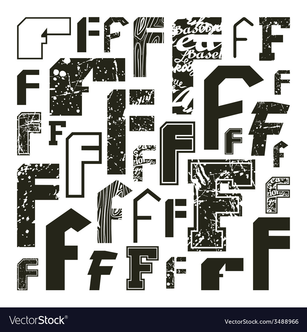 Set versions of letters f vector | Price: 1 Credit (USD $1)
