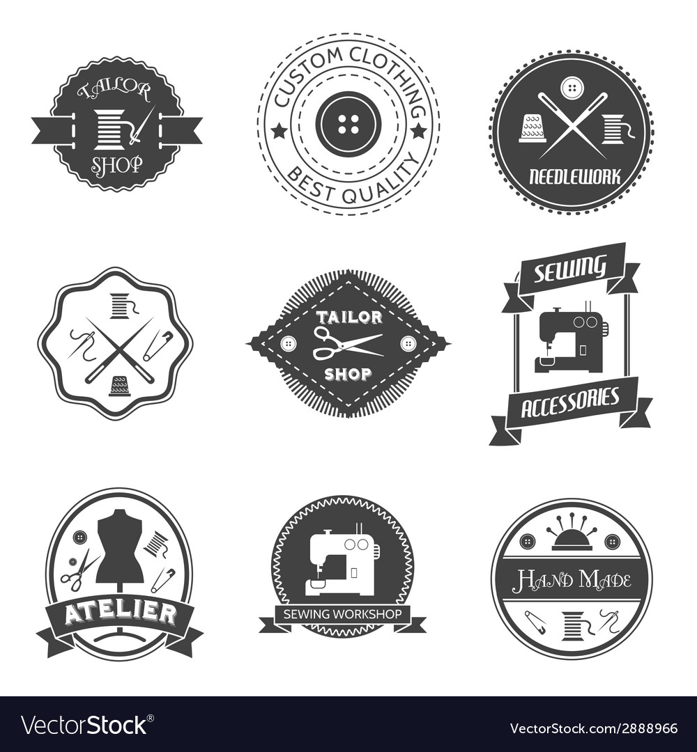Sewing equipment label vector | Price: 1 Credit (USD $1)