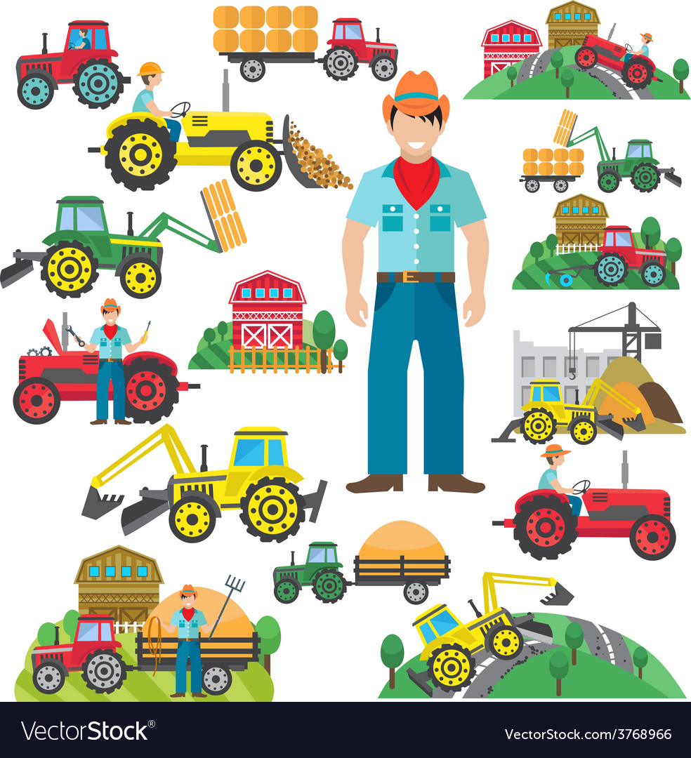 Tractor driver icons set flat vector | Price: 1 Credit (USD $1)