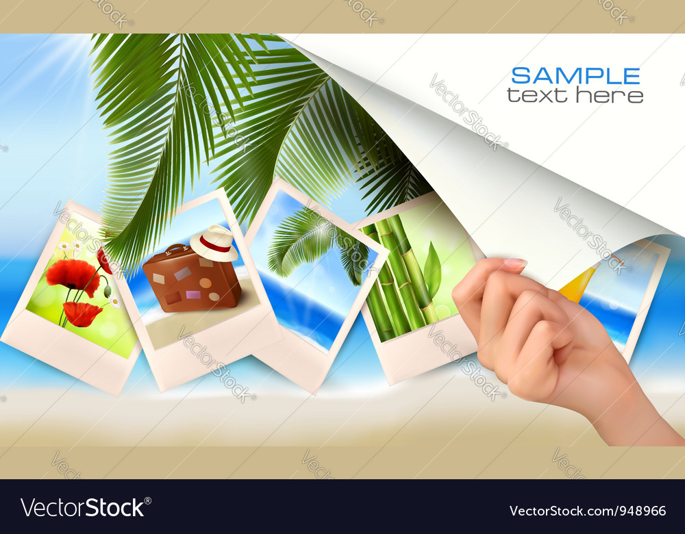 Travel background with hand vector | Price: 5 Credit (USD $5)