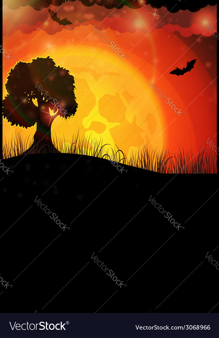 Tree and full moon vector | Price: 1 Credit (USD $1)