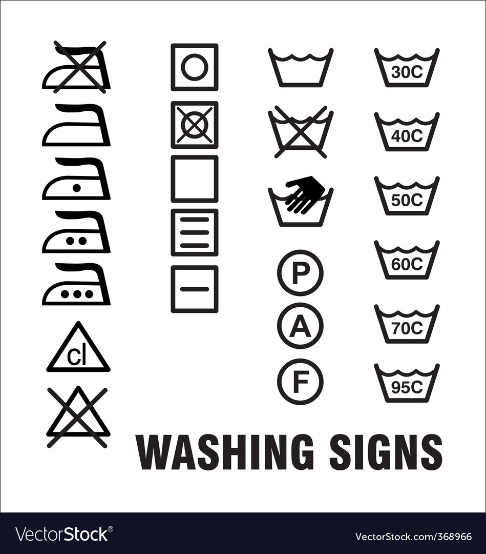 Washing signs vector | Price: 1 Credit (USD $1)