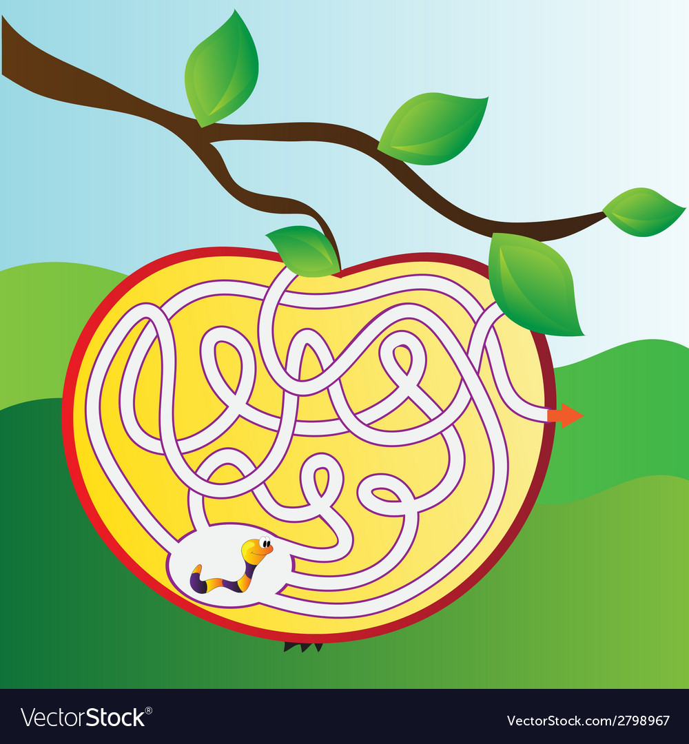 Apple maze with worm vector | Price: 1 Credit (USD $1)