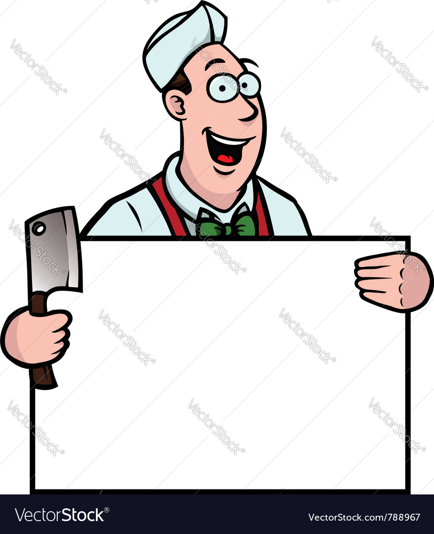 Butcher with a cleaver and sign vector | Price: 1 Credit (USD $1)