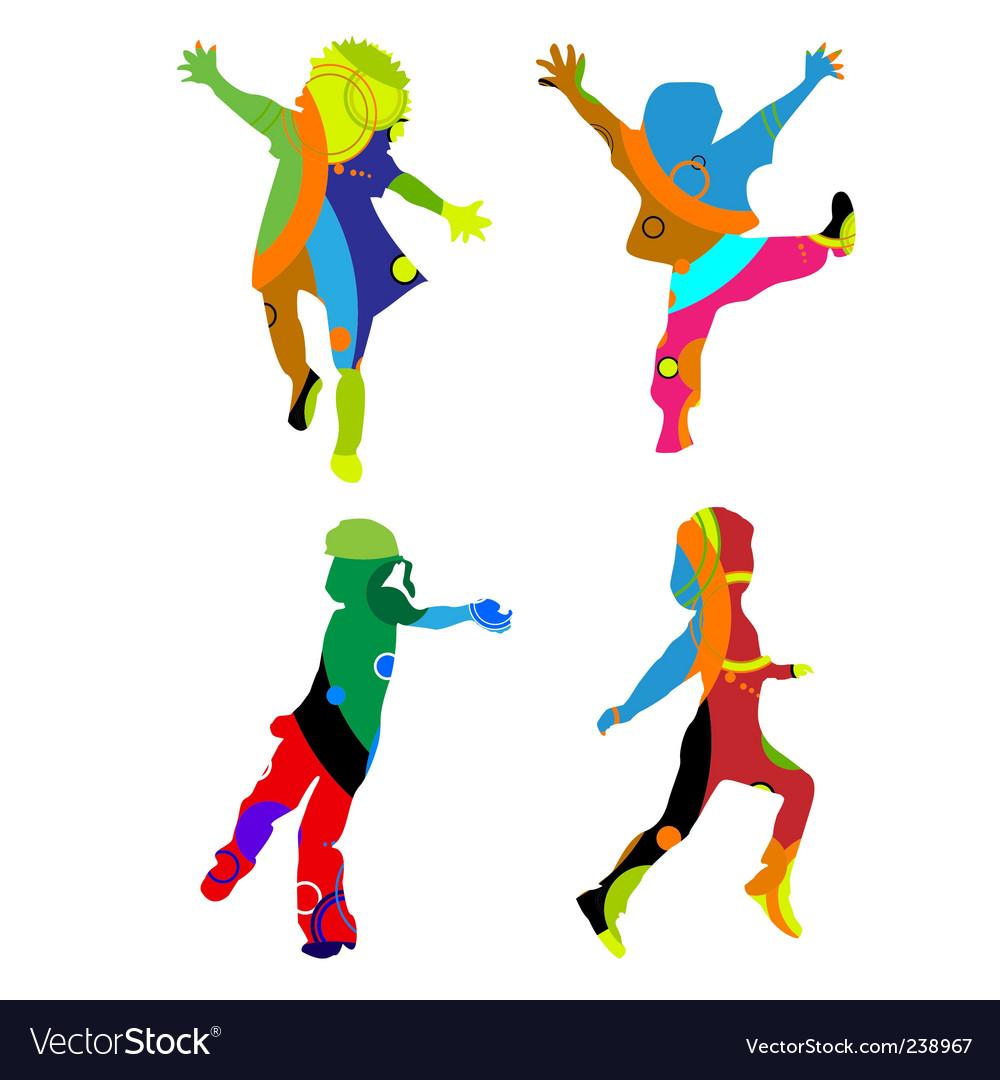 Children silhouettes vector | Price: 1 Credit (USD $1)